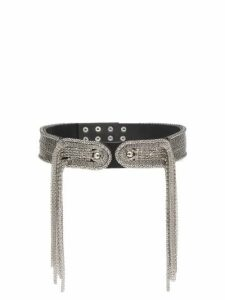 Christopher Kane - Chain-embellished Leather Belt - Womens - Silver