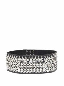 Christopher Kane - Crystal-embellished Leather Belt - Womens - Black Silver