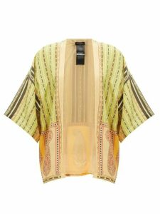 Etro - Printed Silk-crepe Top - Womens - Green Multi