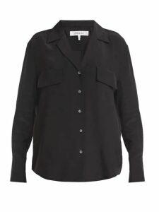 Frame - Chest Pocket Silk Shirt - Womens - Black