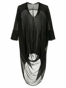 Masnada long back sheer top - Black