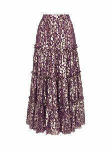 Taller Marmo Raphaelites ruffled maxi skirt - PURPLE