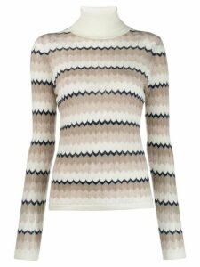 N.Peal wave stripe roll neck jumper - NEUTRALS