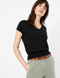 M&S Collection Ribbed V-Neck Knitted Top