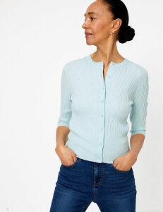 M&S Collection Textured Crew Neck Cardigan