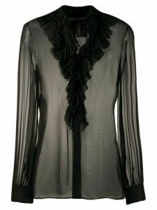 Alberta Ferretti ruffled neck sheer shirt - Black