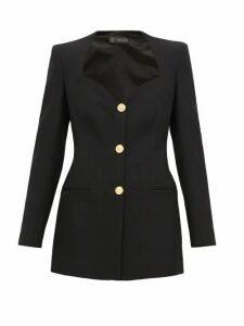Versace - Sweetheart-neckline Single-breasted Crepe Blazer - Womens - Black