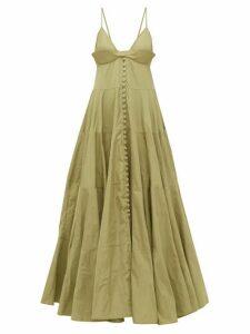 Jacquemus - Manosque Bustier-panel Tiered Maxi Dress - Womens - Green