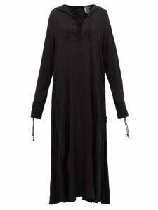 Ann Demeulemeester - Tie-front Voile Maxi Dress - Womens - Black