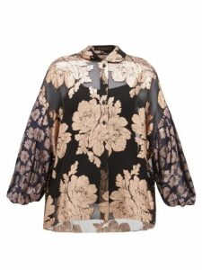 Biyan - Syalendra Metallic Floral Silk-chiffon Blouse - Womens - Black Navy