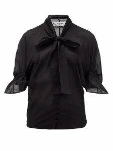 Àcheval Pampa - Chiquita Pussy-bow Cotton-voile Blouse - Womens - Black