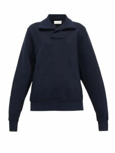 Les Tien - Yacht Open-collar Cotton Sweatshirt - Womens - Navy