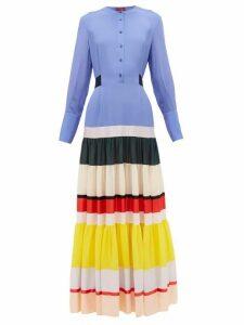 Altuzarra - Lobelia Striped-hem Silk Crepe De Chine Maxi Dress - Womens - Blue Multi