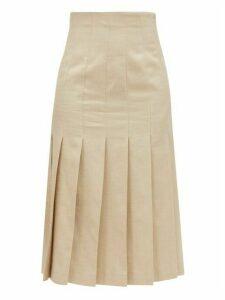 Joseph - Saari High-rise Pleated Shantung-linen Midi Skirt - Womens - Beige