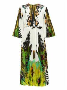 Valentino - Jungle-print Pleated Crepe De Chine Dress - Womens - Ivory Multi