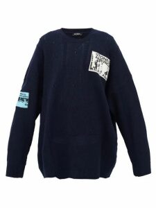 Raf Simons - Patch-appliqué Distressed Merino-wool Sweater - Womens - Navy