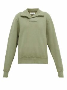 Les Tien - Yacht Open-collar Cotton-jersey Sweatshirt - Womens - Light Green