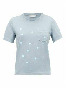 Vika Gazinskaya - Polka-dot Cotton T-shirt - Womens - Blue