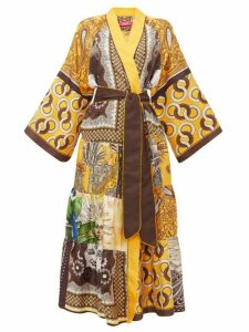 F.r.s - For Restless Sleepers - Iuventas Belted Patchwork Silk Coat - Womens - Yellow Multi