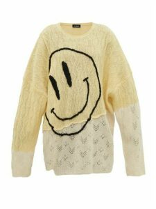 Raf Simons - Smiley Face-embroidered Wool Sweater - Womens - Yellow