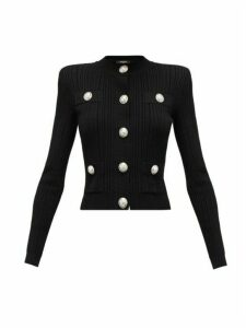 Balmain - Blason-button Rib-knitted Cardigan - Womens - Black