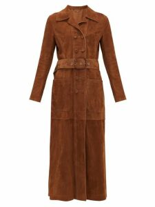 Fendi - Double-breasted Belted Suede Coat - Womens - Dark Brown