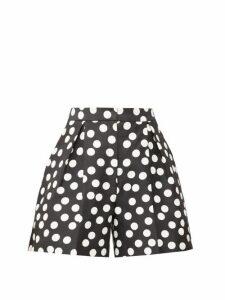 Carolina Herrera - High-rise Polka-dot Cotton-blend Shorts - Womens - Black White