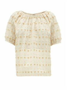 Ace & Jig - Gelato Fil-coupé Gingham Cotton-blend Top - Womens - Beige Multi