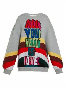 Stella Mccartney - All You Need Is Love-intarsia Sweater - Womens - Grey Multi