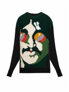 Stella Mccartney - John Lennon Intarsia-knit Wool Sweater - Womens - Black Multi
