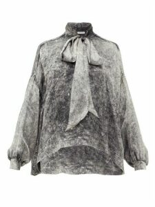Balenciaga - Tie-neck Acid Wash-print Satin Blouse - Womens - Grey