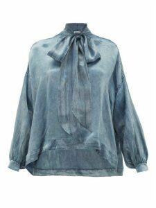 Balenciaga - Pussy-bow Satin Blouse - Womens - Blue