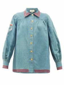Gucci - Amour De Jour-embroidered Chambray Shirt - Womens - Blue