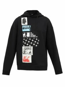Raf Simons - Patch-appliqué Cotton Hooded Sweatshirt - Womens - Black