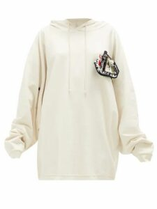 Raf Simons - Pin-patch Cotton-jersey Hooded Sweatshirt - Womens - Ecru White Splash