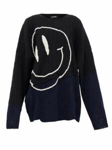 Raf Simons - Smiley Face-embroidered Wool Sweater - Womens - Black