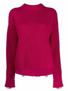 Nina Ricci distressed knit jumper - PINK