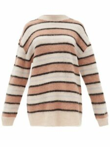 Acne Studios - Karalynn Intarsia-striped Oversized Sweater - Womens - Pink Multi