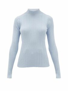 Acne Studios - Katina High-neck Ribbed Cotton-blend Sweater - Womens - Light Blue