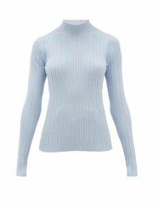 Acne Studios - Katina High-neck Ribbed Cotton-blend Sweater - Womens - Light Blue