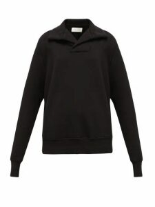 Les Tien - Yacht Open-collar Cotton Sweatshirt - Womens - Black