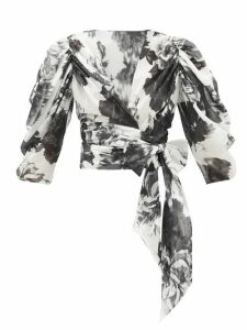 Alexandre Vauthier - Puff-sleeve Floral-print Cotton Wrap Blouse - Womens - Black White