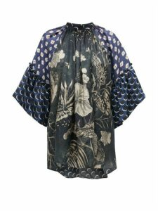 Biyan - Siroko Fluted-sleeve Floral-print Silk Blouse - Womens - Blue Multi