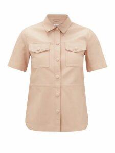 Stand Studio - Danna Short-sleeved Leather Shirt - Womens - Light Pink