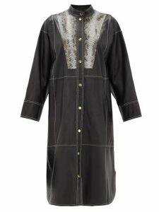 Stand Studio - Ruby Python-effect Bib Leather Shirt Dress - Womens - Black Multi