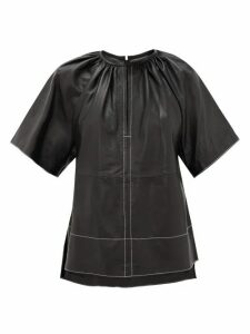 Stand Studio - Brianna Topstitched Leather Top - Womens - Black