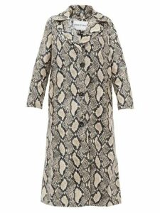 Stand Studio - Mollie Snake-print Faux-leather Coat - Womens - Beige Print