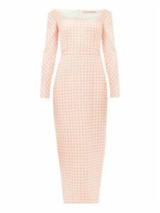 Emilia Wickstead - Birch Off-the-shoulder Gingham Cloqué Midi Dress - Womens - Pink White