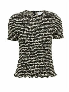 Proenza Schouler White Label - Smocked Contrast-print Georgette Top - Womens - Black White