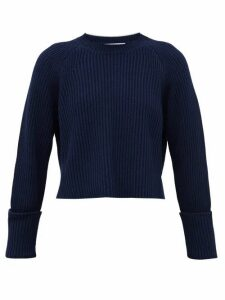 Proenza Schouler White Label - Cropped Ribbed-knit Cotton-blend Sweater - Womens - Navy